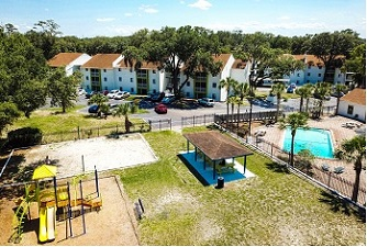 drone view of playground and pool in Red Bay